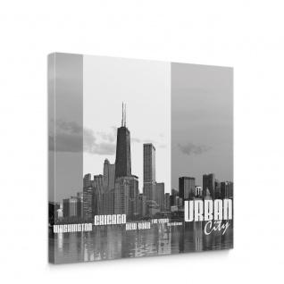 Leinwandbild Chicago New York Las Vegas Skyline Schrift Schwarz-Weiß Wasser   no. 281 - Vorschau 1