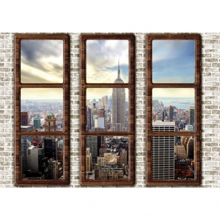 Fototapete New York Tapete Manhattan Städte Länder Skyline Steine Wand Fenster beige | no. 2727