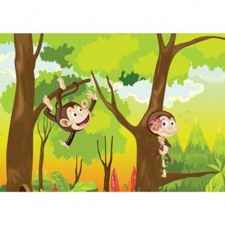 Fototapete Illustrationen Tapete Kinder Affen Wald Bäume Kindertapete Cartoon grün | no. 1756