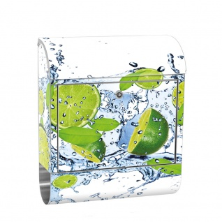 Edelstahl Wandbriefkasten XXL mit Motiv & Zeitungsrolle | Limetten Wasser Blätter Tropfen Obst Frucht | no. 0864
