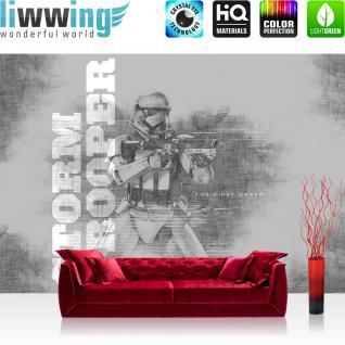 liwwing Fototapete 368x254 cm PREMIUM Wand Foto Tapete Wand Bild Papiertapete - Jungen Tapete STAR WARS Storm Trooper Maske Kämpfer Gewehr grau - no. 2199