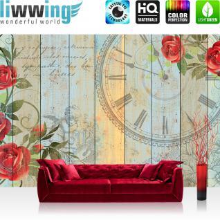 liwwing Vlies Fototapete 416x254cm PREMIUM PLUS Wand Foto Tapete Wand Bild Vliestapete - Holz Tapete Holzwand Holzoptik Holz Schriftzug Blume Rose Uhr Zeit beige - no. 2485