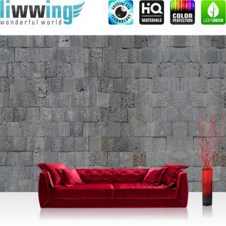 liwwing Fototapete 368x254 cm PREMIUM Wand Foto Tapete Wand Bild Papiertapete - Steinwand Tapete Steinmauer Steinwand Steinoptik grau - no. 694