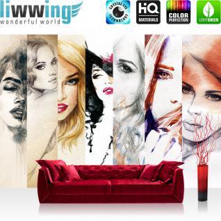 liwwing Vlies Fototapete 350x245 cm PREMIUM PLUS Wand Foto Tapete Wand Bild Vliestapete - FACES OF WOMEN - Aquarell Frauen Woman Zeichnung Gesichter Schön Beauty - no. 116