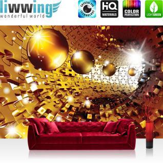 liwwing Vlies Fototapete 350x245 cm PREMIUM PLUS Wand Foto Tapete Wand Bild Vliestapete - 3D Tapete Abstrakt Kugel Puzzel Tunnel Licht 3D gelb - no. 949