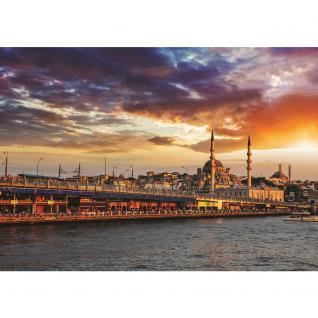 liwwing Vlies Fototapete 208x146cm PREMIUM PLUS Wand Foto Tapete Wand Bild Vliestapete - Istanbul Tapete Stadt Himmel Wasser Skyline blau - no. 1192 - Vorschau 2