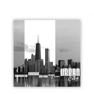 Leinwandbild Chicago New York Las Vegas Skyline Schrift Schwarz-Weiß Wasser   no. 281 - Vorschau 2