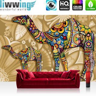 liwwing Fototapete 254x168 cm PREMIUM Wand Foto Tapete Wand Bild Papiertapete - Kunst Tapete Abstrakt Ornamente Blätter Tiere Dromedare Farben braun - no. 2153
