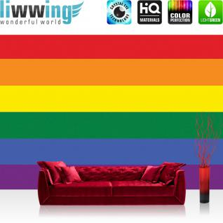 liwwing Vlies Fototapete 400x280 cm PREMIUM PLUS Wand Foto Tapete Wand Bild Vliestapete - Illustrationen Tapete Regenbogen Flagge Fahne Regenbogenfahne Hoffnung Akzeptanz bunt - no. 1039