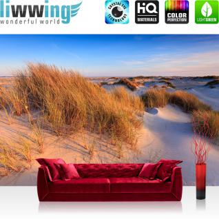 liwwing Vlies Fototapete 400x280 cm PREMIUM PLUS Wand Foto Tapete Wand Bild Vliestapete - Strand Düne Wasser - no. 246