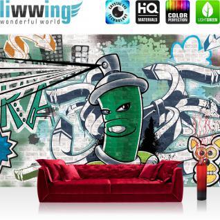 liwwing Fototapete 368x254 cm PREMIUM Wand Foto Tapete Wand Bild Papiertapete - Graffiti Tapete Steinwand Steinoptik Graffiti Malerei grün - no. 2621