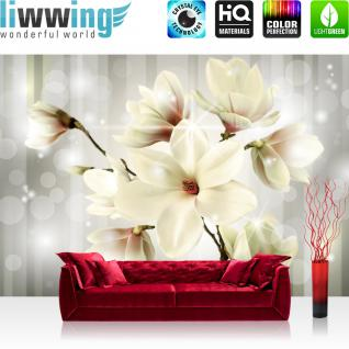 liwwing Fototapete 368x254 cm PREMIUM Wand Foto Tapete Wand Bild Papiertapete - Blumen Tapete Magnolia Blume Natur grau - no. 1284