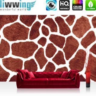 liwwing Vlies Fototapete 300x210 cm PREMIUM PLUS Wand Foto Tapete Wand Bild Vliestapete - Illustrationen Tapete Giraffe Fell Muster Flecken braun - no. 435