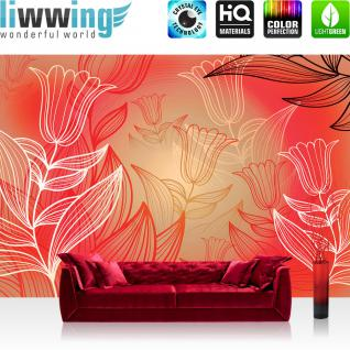 liwwing Vlies Fototapete 416x254cm PREMIUM PLUS Wand Foto Tapete Wand Bild Vliestapete - Illustrationen Tapete Blumen Illustration Natur rot - no. 3109