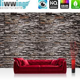 liwwing Fototapete 368x254 cm PREMIUM Wand Foto Tapete Wand Bild Papiertapete - Steinwand Tapete Steinwand Steine Steinoptik grau - no. 620
