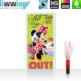 liwwing Türtapete selbstklebend 91x211 cm PREMIUM PLUS Tür Fototapete Türposter Türpanel Foto Tapete Bild - DISNEY Minnie Mouse Kindertapete Cartoon Tasche Maus Einkaufen - no. 1068