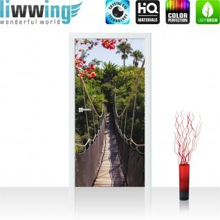 Türtapete - Hängebrücke Bäume Wald Blumen | no. 770 - Vorschau 2