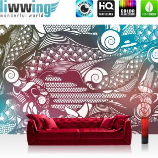 liwwing Vlies Fototapete 350x245 cm PREMIUM PLUS Wand Foto Tapete Wand Bild Vliestapete - Ornamente Tapete Muster blau gelb - no. 355