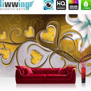 liwwing Vlies Fototapete 416x254cm PREMIUM PLUS Wand Foto Tapete Wand Bild Vliestapete - Kunst Tapete Blumen Blüten Blätter Orchidee Herzen Schnörkel Schlingen gold - no. 2188