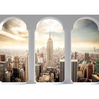 Fototapete New York Tapete Skyline Tower Gebäude Terrasse Balkon weiß | no. 2360