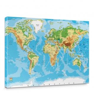 Leinwandbild Weltkarte Landkarte Erde Globus Kontinente | no. 5135