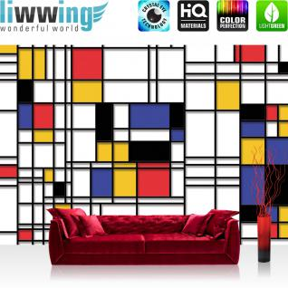 liwwing Vlies Fototapete 312x219cm PREMIUM PLUS Wand Foto Tapete Wand Bild Vliestapete - Kunst Tapete Kacheln Linien Muster Abstrakt bunt - no. 2269