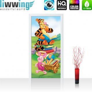 liwwing Vlies Türtapete 91x211 cm PREMIUM PLUS Tür Fototapete Türposter Türpanel Foto Tapete Bild - DISNEY Winnie Puuh Kindertapete Cartoon Tiger - no. 925