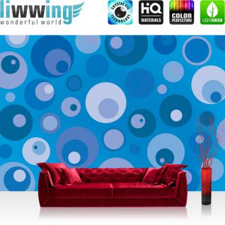 liwwing Fototapete 368x254 cm PREMIUM Wand Foto Tapete Wand Bild Papiertapete - Kunst Tapete Design Muster Kreise Augen blau - no. 2821