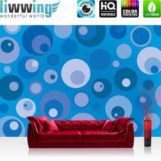 liwwing Vlies Fototapete 416x254cm PREMIUM PLUS Wand Foto Tapete Wand Bild Vliestapete - Kunst Tapete Design Muster Kreise Augen blau - no. 2821
