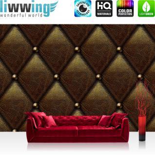 liwwing Vlies Fototapete 416x254cm PREMIUM PLUS Wand Foto Tapete Wand Bild Vliestapete - Sonstiges Tapete Lederoptik Knöpfe Leder Optik Textur Muster braun - no. 2450