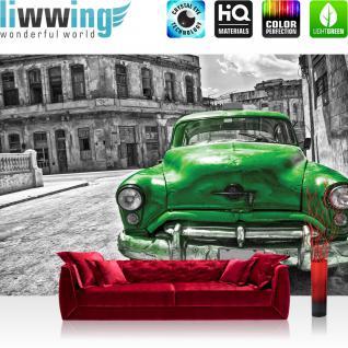 liwwing Vlies Fototapete 416x254cm PREMIUM PLUS Wand Foto Tapete Wand Bild Vliestapete - Autos Tapete Oldtimer Auto Kuba Havanna grau - no. 2225