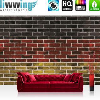 liwwing Fototapete 254x168 cm PREMIUM Wand Foto Tapete Wand Bild Papiertapete - Steinwand Tapete Steinmauer Steine Deutschland Flagge bunt - no. 3110