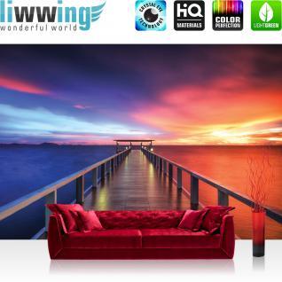 liwwing Fototapete 368x254 cm PREMIUM Wand Foto Tapete Wand Bild Papiertapete - Meer Tapete Sonnenuntergang Steg Meer Holz Lichter Wasser Steg Himmel Sonnenaufgang lila - no. 992