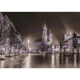 Fototapete Stadt Tapete Nacht Lichter Kirche Winter Regen Promenade grau   no. 2388