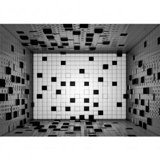 Fototapete Kunst Tapete Raum Fliesen Würfel Kacheln Muster Design schwarz - weiß | no. 2472