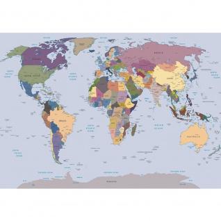 Fototapete Geographie Tapete Geografie Karte Länder Städte bunt | no. 1847