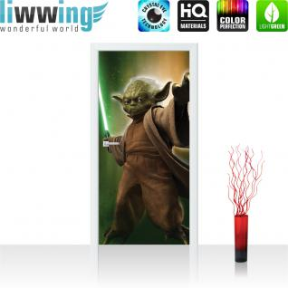 liwwing Türtapete selbstklebend 91x211 cm PREMIUM PLUS Tür Fototapete Türposter Türpanel Foto Tapete Bild - STAR WARS Yoda Kindertapete Cartoon Kämpfer Laserschwert Figur - no. 455