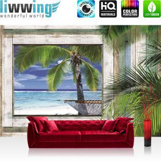 liwwing Vlies Fototapete 416x254cm PREMIUM PLUS Wand Foto Tapete Wand Bild Vliestapete - Holz Tapete Holz Holzoptik Rahmen Fenster Strand Meer Palmen Himmel grau - no. 3004
