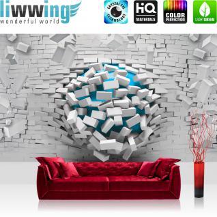 liwwing Vlies Fototapete 208x146cm PREMIUM PLUS Wand Foto Tapete Wand Bild Vliestapete - Steinwand Tapete Stein Steinwand Steinoptik 3D Kugel grau - no. 2523