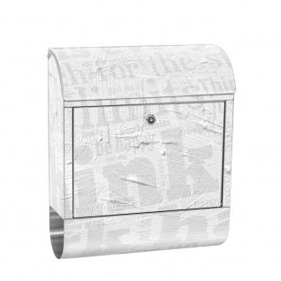 Edelstahl Wandbriefkasten XXL mit Motiv & Zeitungsrolle | Ornamente Schrift Hintergrund Büro | no. 0124