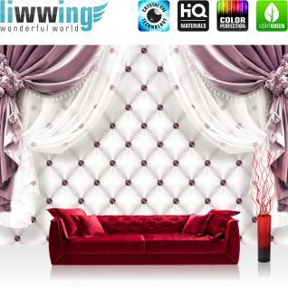 liwwing Fototapete 254x168 cm PREMIUM Wand Foto Tapete Wand Bild Papiertapete - Kunst Tapete Vorhänge Seide Punkte Vierecke weiß - no. 2168