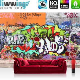 liwwing Vlies Fototapete 300x210 cm PREMIUM PLUS Wand Foto Tapete Wand Bild Vliestapete - GRAFFITI STONE WALL - Kinderzimmer Graffiti Streetart Graffitti Sprayer 3D bunt - no. 032