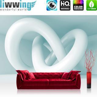 liwwing Fototapete 254x168 cm PREMIUM Wand Foto Tapete Wand Bild Papiertapete - 3D Tapete Abstrakt Schlingen 3D Modern Art blau - no. 599