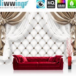 liwwing Fototapete 254x168 cm PREMIUM Wand Foto Tapete Wand Bild Papiertapete - Kunst Tapete Vorhänge Gardinen Seide Muster Punkte weiß - no. 2550