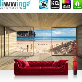 liwwing Fototapete 254x168 cm PREMIUM Wand Foto Tapete Wand Bild Papiertapete - Holz Tapete Holzoptik Rahmen Fenster Meer Strand Himmel beige - no. 2538
