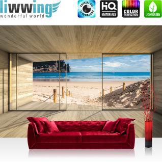 liwwing Vlies Fototapete 416x254cm PREMIUM PLUS Wand Foto Tapete Wand Bild Vliestapete - Holz Tapete Holzoptik Rahmen Fenster Meer Strand Himmel beige - no. 2538