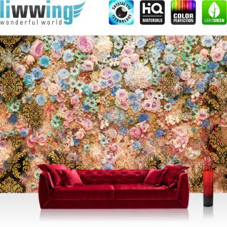 liwwing Vlies Fototapete 104x50.5cm PREMIUM PLUS Wand Foto Tapete Wand Bild Vliestapete - Blumen Tapete Blüten Rosen Ornamente rosa - no. 3018