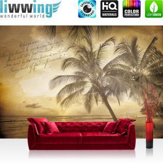 liwwing Fototapete 254x168 cm PREMIUM Wand Foto Tapete Wand Bild Papiertapete - Strand Tapete Muster Meer Palmen Schrift Vintage sepia - no. 1292