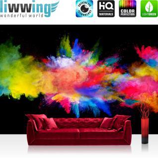 liwwing Fototapete 368x254 cm PREMIUM Wand Foto Tapete Wand Bild Papiertapete - Kunst Tapete Farbbombe Holi indisches Farbenfest Pulver bunt - no. 2424
