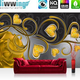 liwwing Vlies Fototapete 416x254cm PREMIUM PLUS Wand Foto Tapete Wand Bild Vliestapete - Ornamente Tapete Rose Herzen Blume Blüte Schnörkel Liebe gelb - no. 2443